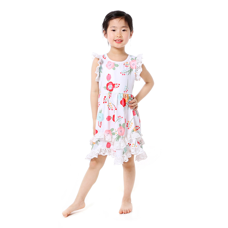 Summer Cotton Baby Girls Kids Boutique Clothes Dress Stiped Floral Lace Trim Ruffle Baby Girls Dress Toddler Outfit  (1)