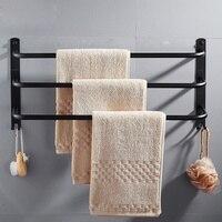 Creative black paint towel rack toilet silver mirror three layer towel bar 40/50/60cm towel rack bathroom hardware kit