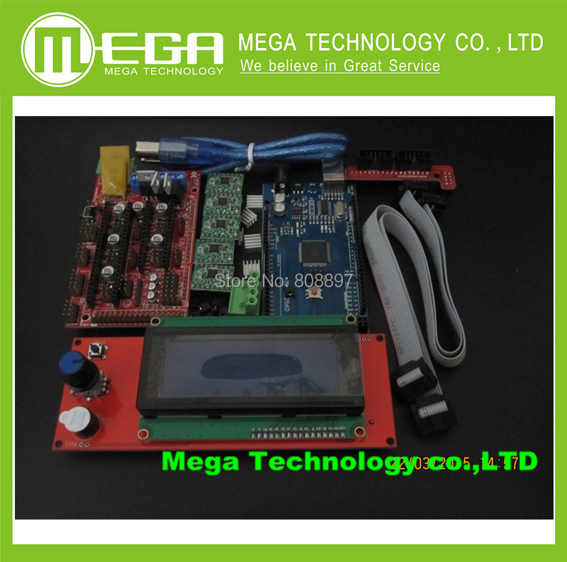 !1pcs Mega 2560 R3 + 1pcs RAMPS 1.4 Controller + 5pcs A4988 Stepper Driver Module /RAMPS 1.4 2004 LCD control for 3D Printer kit