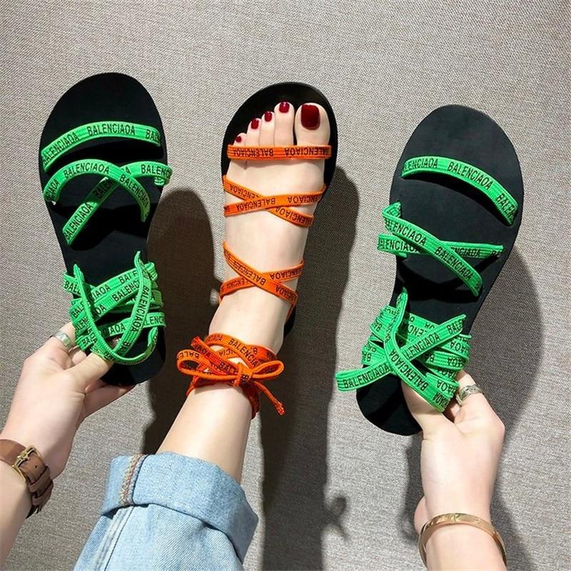 Letter Sandals Multicolor Woman Summer Ankle-Strap Femme Fashion Non-Slip Chaussures