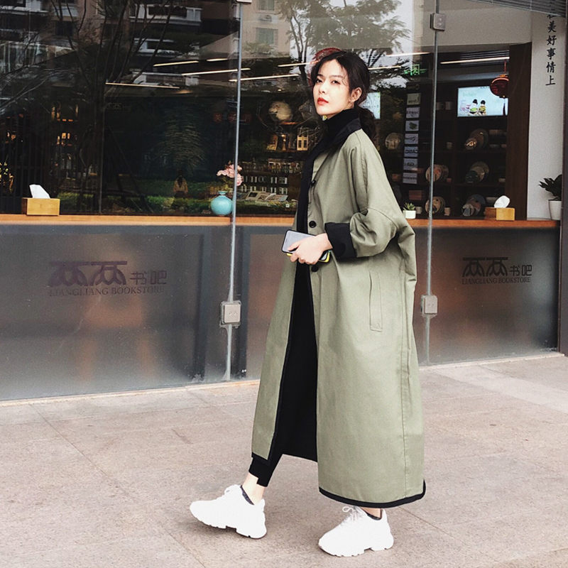 Reversible Windbreaker Female Spring  Autumn Coat New Loose Oversize Jacket Casual Single Breasted Long Coat Outerwear F1315