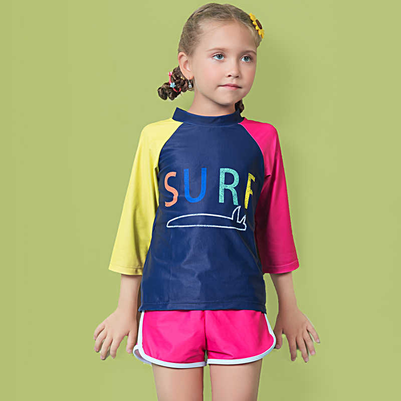 New Swimming suit for children's Two Pieces swimsuit Girls sportswear Swimwear Sport Boxer Shorts Long Sleeve