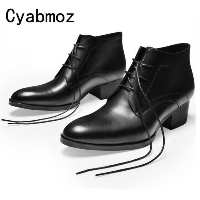 96bef3e2001 Black Genuine Leather Ankle Boots Thick Heels Men Shoes Cowboy Boots Mens  High Heels Zapatos Hombre Vestir Lace Up Man Oxfords