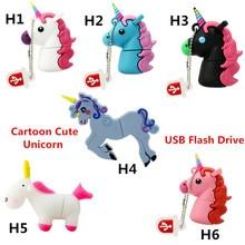 2017 Hot Sale Cartoon Cute Unicorn USB Flash Drive Pen Drive 8GB 16GB 32GB 64G Horse USB Stick External Memory Storage Pen Drive