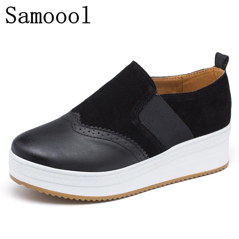 Samool 여성 플랫 플랫폼 로퍼 숙녀 우아한 스웨이드 - 여성 신발