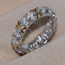 Tamaño 5-11 Joyería Al Por Mayor Hecha A Mano 925 filled Chapado En oro blanco de Superposición 5A CZ Gem Cruz Boda anillo de regalo