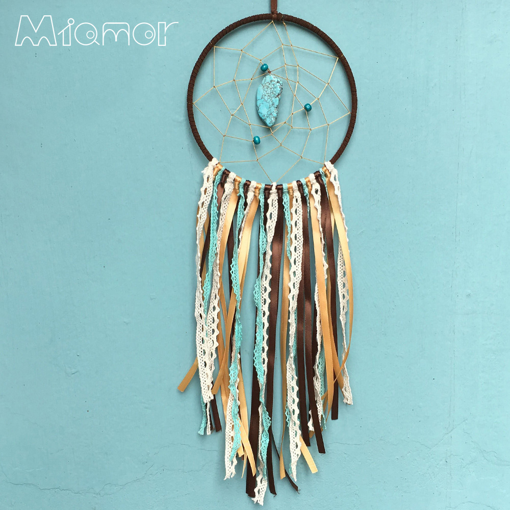 Vintage Enchanted Forest Indian Turquoise Dreamcatcher Handmade Dream Catcher Net With Feathers Decoration Ornament Amor6012