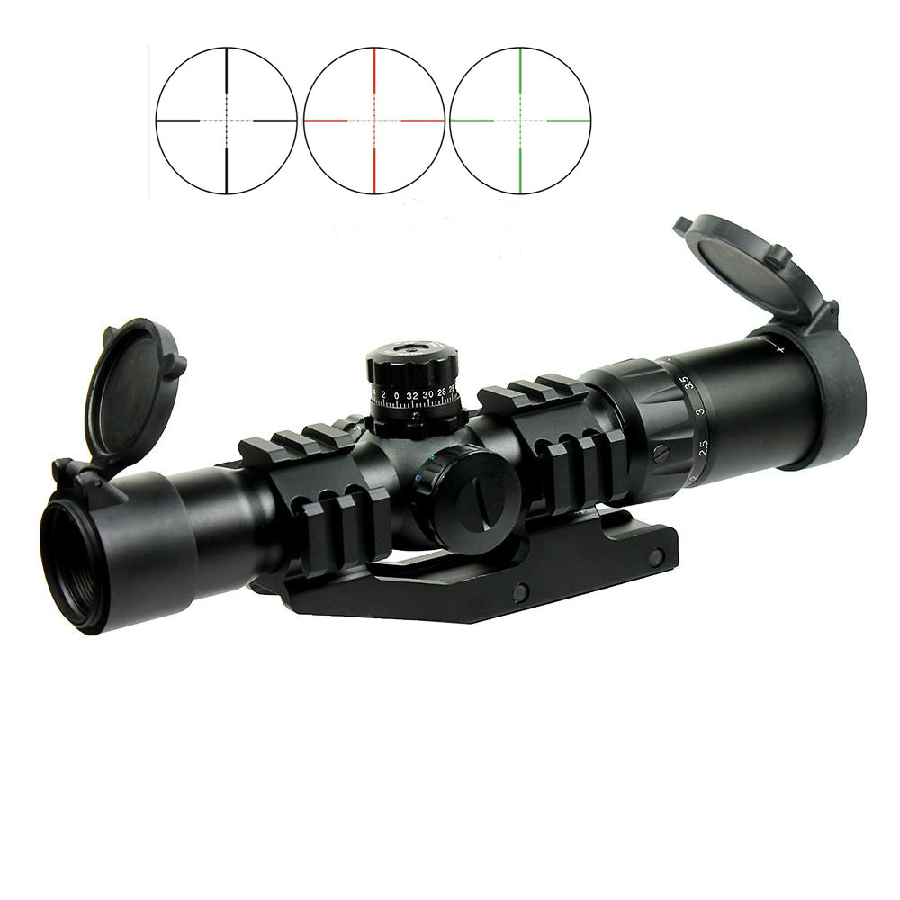 2016 Tactical Mustang 1.5-4x30 Hunting Shooting Rifle Scope Chevron Reticle with Offset Weaver Mount Ring fit lakve steel offset weaver mount for m4 khaki