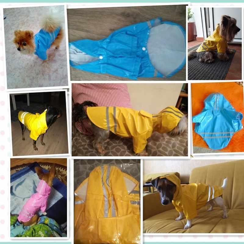 PU Reflecterende Hond Regenjas Zomer Pet Kleding Waterdicht Regen Jas Overalls Voor Kleine Honden Chihuahua Regen Jas Huisdieren Jumpsuit 3