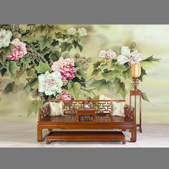 Лидер продаж; классические элегантные ручная роспись шелковые обои живопись цветы с птицами обоев многих искусств и фон опционально