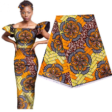 2019 Elegant Guaranteed Real Dutch Waxed Fabric 100% Cotton Africa Ankara Prints Wax Fabric for Party Dress 6yards High Quality