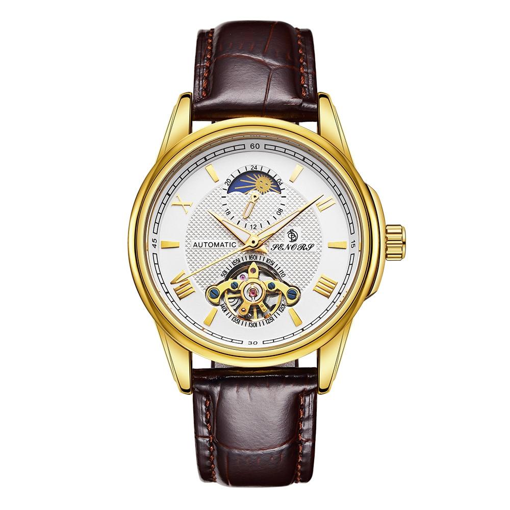 Mechanical Watches Skeleton Watch Men Automatic Clock Luxury Wristwatch Relogio Masculino by SENORS senors серебряный
