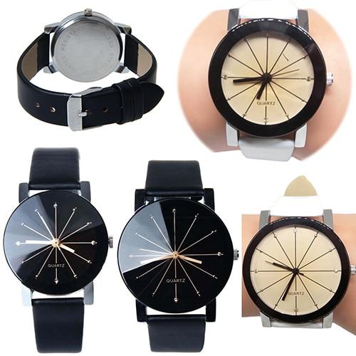 Design  Men Women  Stainless Steel Faux Leather Quartz Sports Dress Wrist Watch BIG6