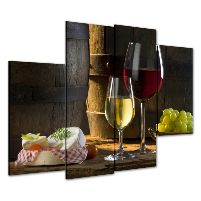 4pcs HD Canvas Print Painting Wine Wall Art Decor Picture Modern Dining Room Home