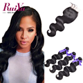 7A Peruvian Virgin Hair Body wave With Closure 3 Bundles Peruvian Body Wave With Lace Closure Body Wave Human Hair With Closure