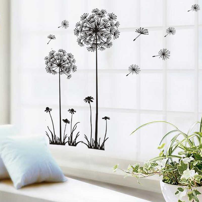 Czarny piękne Dandelion naklejki ścienne pokój dzienny sypialnia marzenie o lataniu naklejki ścienne naklejka dekoracyjna do domu na naklejki ścienne