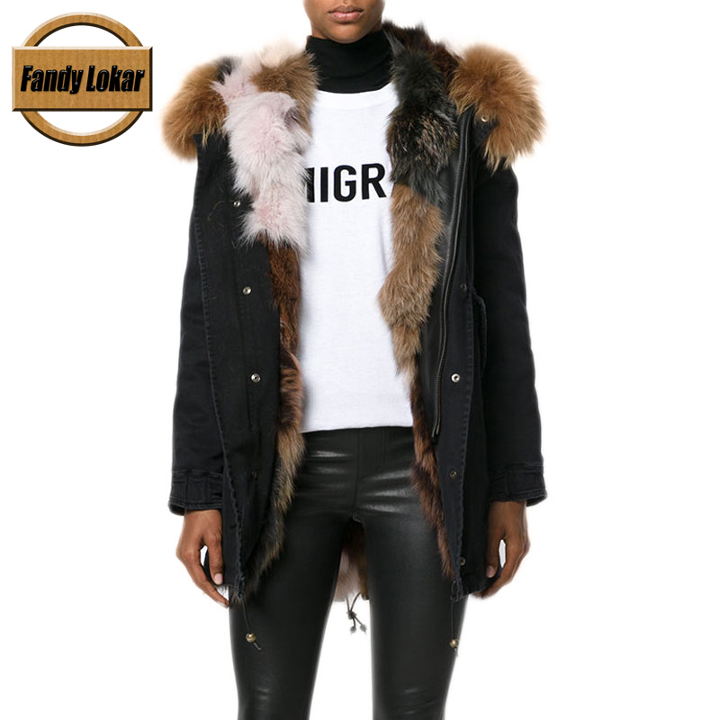 Solid Color Real Raccoon Fur Collar Coat Women Winter Real Fox Fur Liner Loose Fur Jacket With Hat Women Fur Parka FP83013 2017 winter new clothes to overcome the coat of women in the long reed rabbit hair fur fur coat fox raccoon fur collar