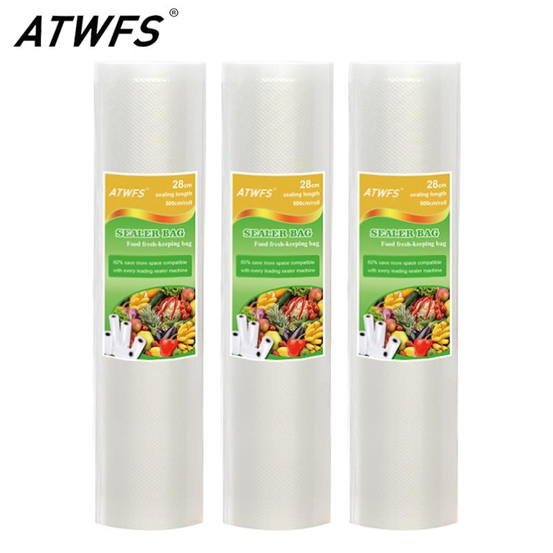 все цены на ATWFS 28CMx500CM Rolls Vacuum Bags for Food Heat Vacuum Sealer Food Saver Storage Bags Saran Wrap онлайн