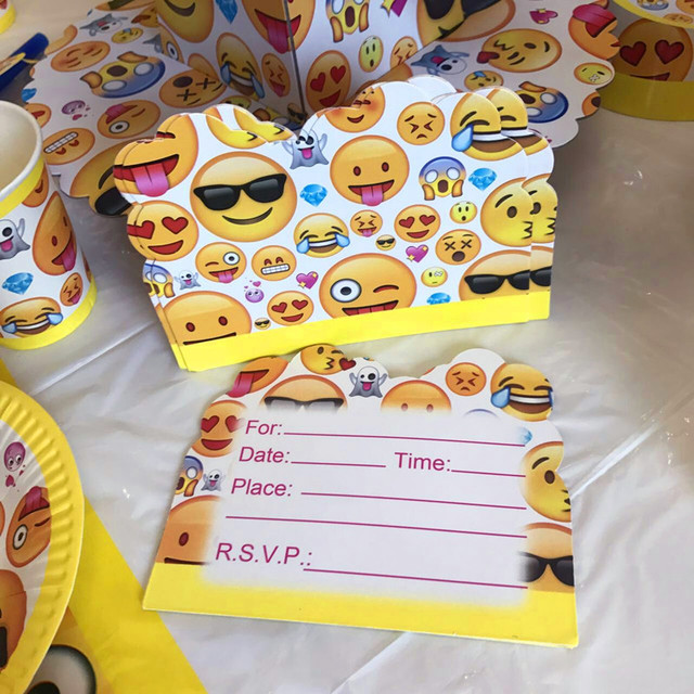 10pcs Pack Cute Emoji Party Invitation Card Smiling Faces Style