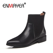 ENMAYER Women Ankle Boots Big Size 34-42 Causal High Heels Thick Heel Fashion Round Toe Buckle Shoes woman Slip on CR1233