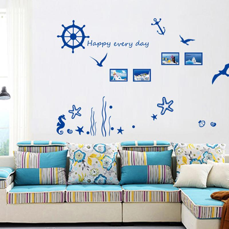 blue ocean photo frame diy vinyl wall stickers home decor art decals wallpaper bedroom sofa house decoration adesivo de parede