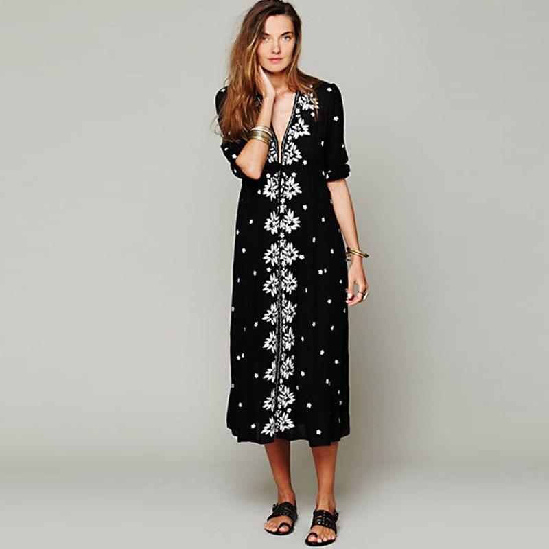 Embroidered Fable Dress Deep V Neck Half Sleeve High Waist Cotton Vestidos Maxi Hippie Holiday Beach Long Dress Party Dress Lady