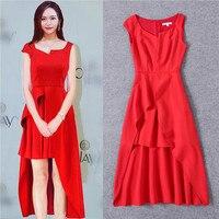 Фирменный стиль красный элегантная дама красный 2017 мода платье без рукавов Асимметричный короткое спереди сзади длинные однотонные черные...