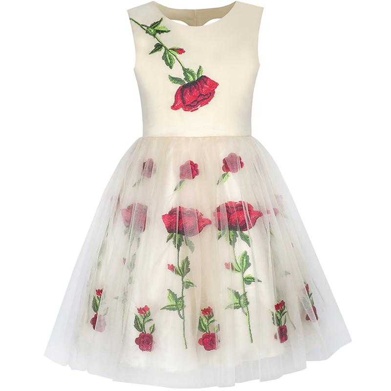 Sunny Fashion Girls Dress Champagne Rose Flower Embroidery Heart Shape Back 2018 Summer Princess Wedding Party Dresses Size 7-14 sunny fashion girls dress hi lo maxi chiffon lace polka dot necklace party 2018 summer princess wedding dresses size 7 14