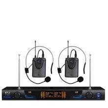 Frete grátis ETJ U-209 Microfone Sem Fio com Tela de 50 M Distância 2 Canais Handheld Microfone Karaoke Sistema de Microfone Sem Fio