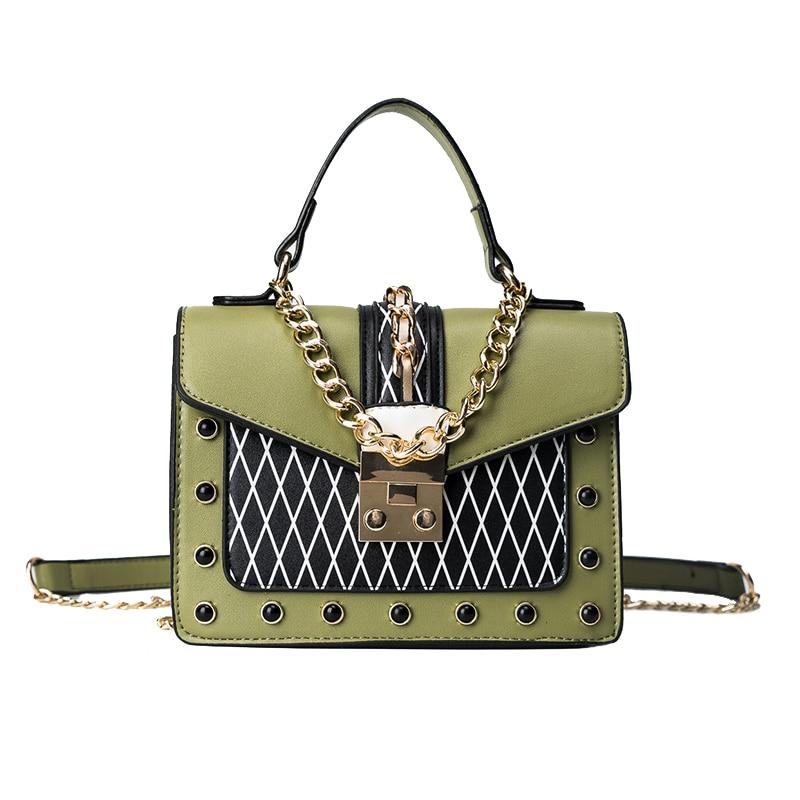 Luxury Handbags Women Bags Designer Leather Handbags Sequined Chain Panelled Shoulder Bag Mini Woman Messenger Bag Handbags Sac luxury handbags women chain messenger bag lipstick lock designer woman black