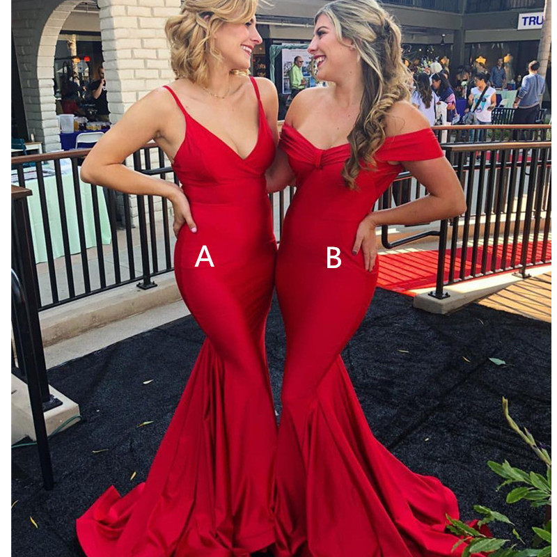 Elegant Long Red Mermaid   Prom     Dresses   2019 Deep V Neck Luxury Satin   Dress   Evening Wear Women Special Occasion Vestidos de fiesta