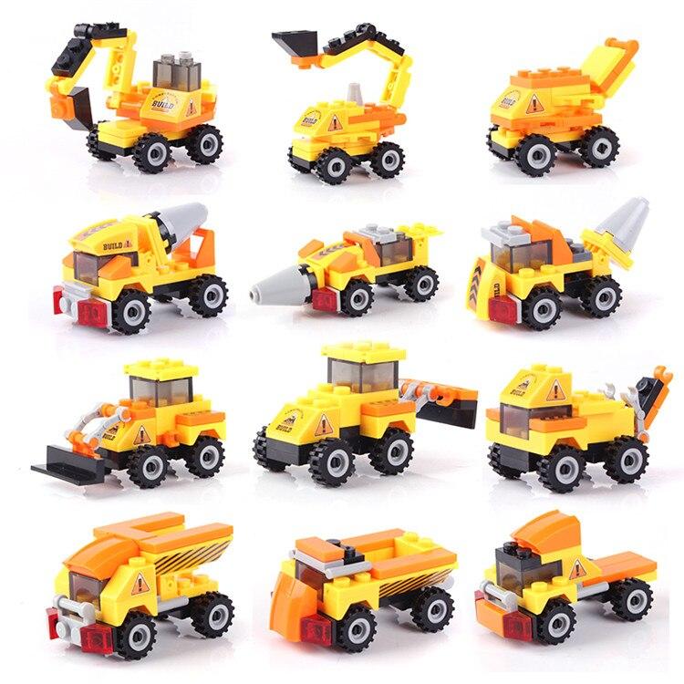 27-33pcs/set DIY Building Blocks Toys Construction Vehicles Action Figure Toy Children Educational Truck Toy 3+ Years cheerlink zm 81 3mm neodymium iron diy educational toys set silver 81 pcs