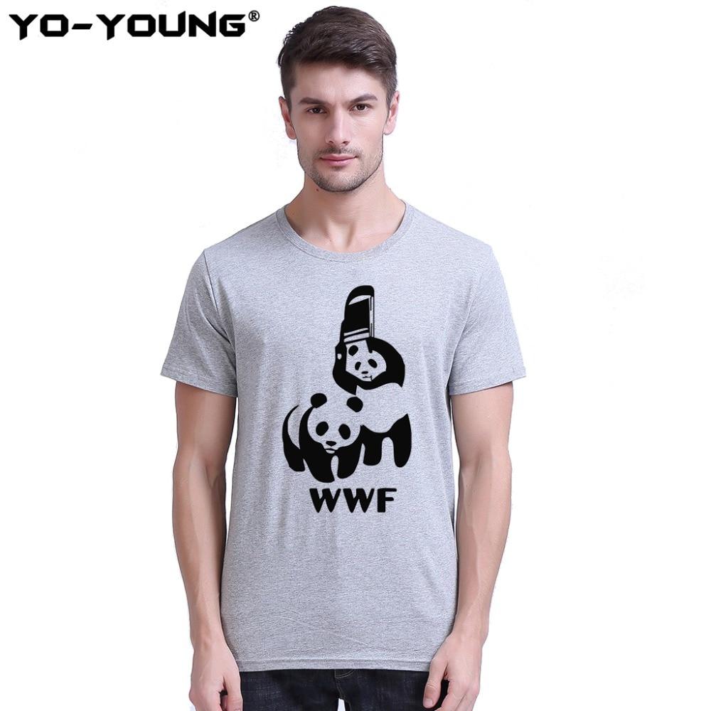 Männer T-Shirts Lustige Tees Parodie Logo WWF Panda Print 100% 180 g / qm Gekämmte Baumwolle Lässige Sommer Top Tees Homme Angepasst