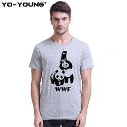 Yo-young hommes T-Shirts drôles T-Shirts Spoof Logo WWF Panda imprimer 100% 180 gsm coton peigné décontracté haut d'été T-Shirts Homme personnalisé