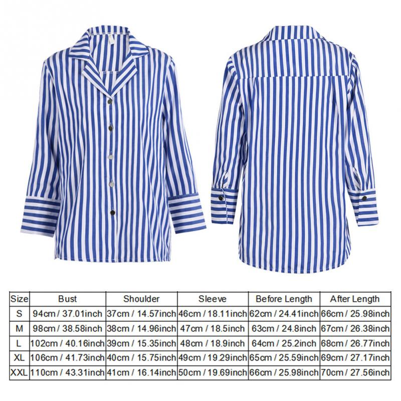 dbcfd39584 Casual Striped Women Long Sleeve Ladies Office Shirts Blue and White Stripes  Turn Down Collar Nine Quarter Sleeve Blouse Blusas-in Blouses & Shirts from  ...