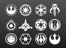 Star Wars Symbols Home Decor Wall Stickers Set (12 Pieces)