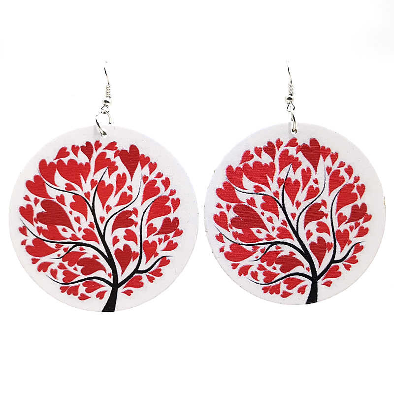 YD&YDBZ Red Maple Leaf Drop Earrings For Girls Fashion Red Heart Big Earrings Women Round Printing Jewelry Cute Style Earring
