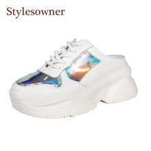 Stylesowner Hot Selling Summer Sandal Shoe White Cake Sole Lace Up Slip on Slides Roman Style Leisure Patchwork Sport