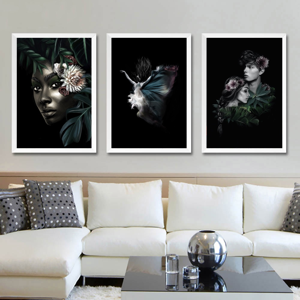 Abstract Female Portraits Green Plats Wall Photo Art Cloth Feather ...
