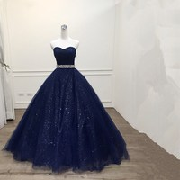 Katristsis d 2019 Robe De Mariage Princess Bling Bling Luxury Navy blue Ball Gown evening Dress Custom Made Vestido De Noiva
