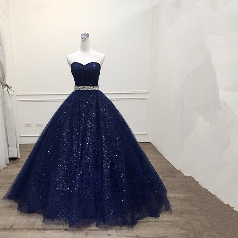 Katristsis <font><b>d</b></font> <font><b>2019</b></font> Robe De Mariage Princess Bling Bling Luxury Navy blue Ball Gown evening Dress Custom Made Vestido De Noiva image
