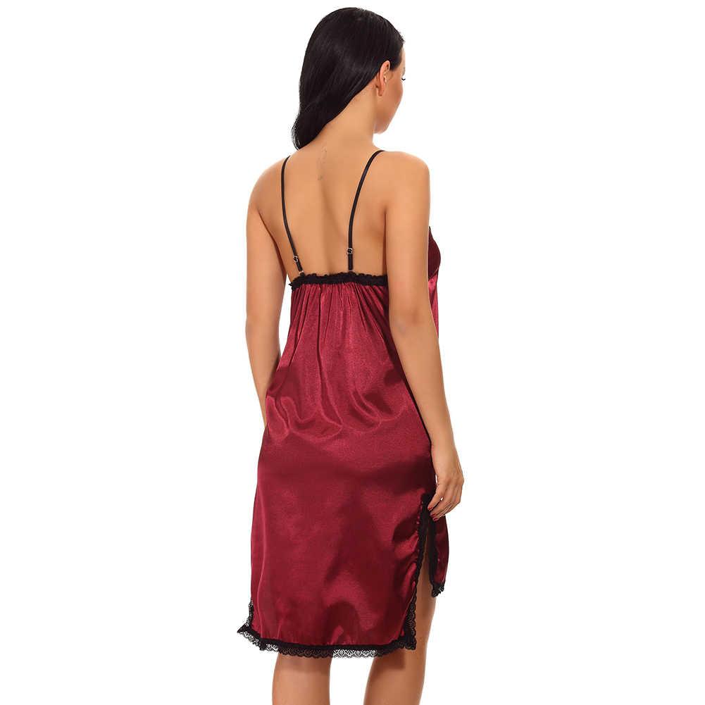 28b4b4ffdc0 ... Sexy Women Satin Slip Dress Chemise Nightgown Lace V Neck Side Slit  Baby Doll Dress Asymmetrical ...