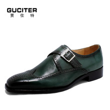 Goodyear craft Monk shoes Italy custom handmade shoes men genuine leather Exalted yellow brown single monk
