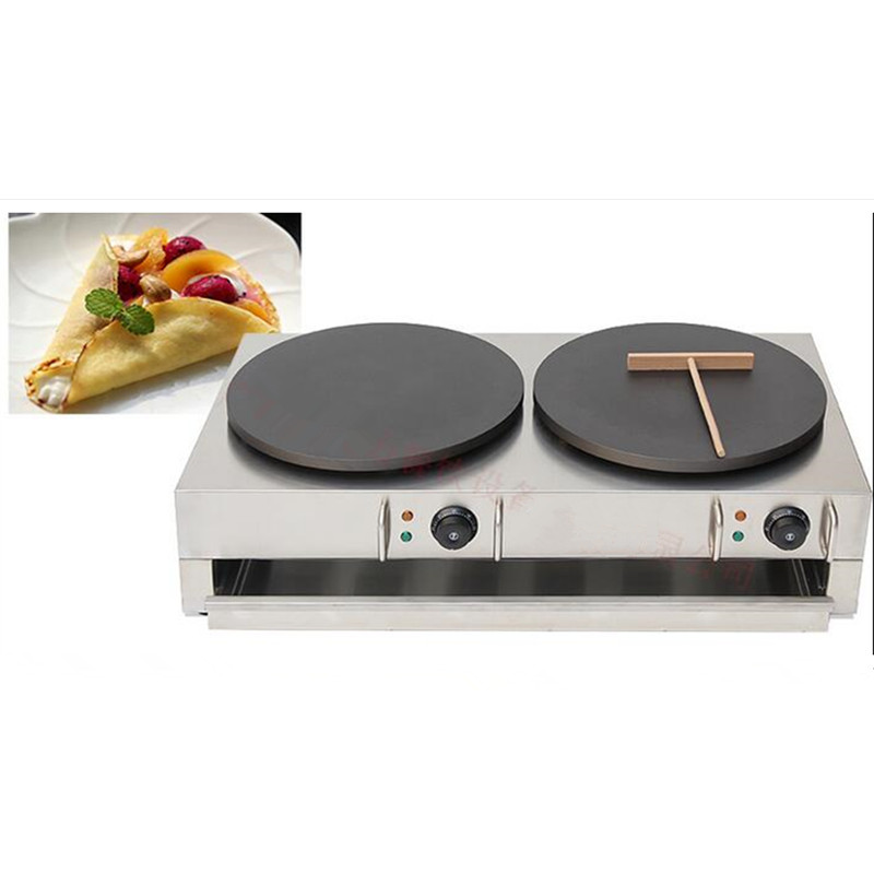 110/220V Commercial Electric Crepe Maker Machine Stainless Steel Double Head Non-stick Pancake Maker Baking Pan Plate EU/AU/UK 2 pc 220v crepe machinist grasp bread machine single head electric heating circle non stick pancake machine