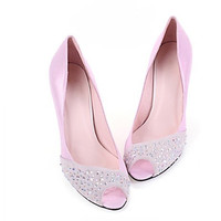 Slingbacks Rhinestones Soft Shoe Upper Leather Customized Sexy Full Genuine Leather High Heeled In Spring Autumn