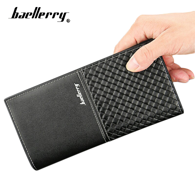 Baellerry Slim Men Wallet Leather Male Purse Long Leather Wallet Knitting Card Holder Coin Purse Photo Pocket Male Bag Money Bag baellerry new wallet men designer pu leather mens wallet with coin pocket removable card holder high quality luxury male purse