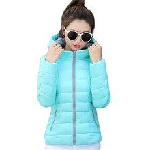 2017 candy color hooded winter women basic jacket cotton padded casaco feminino womens slim short outerwear womens coat