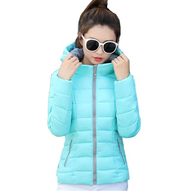2018 candy color hooded winter women basic jacket cotton padded casaco feminino womens slim short outerwear womens coat