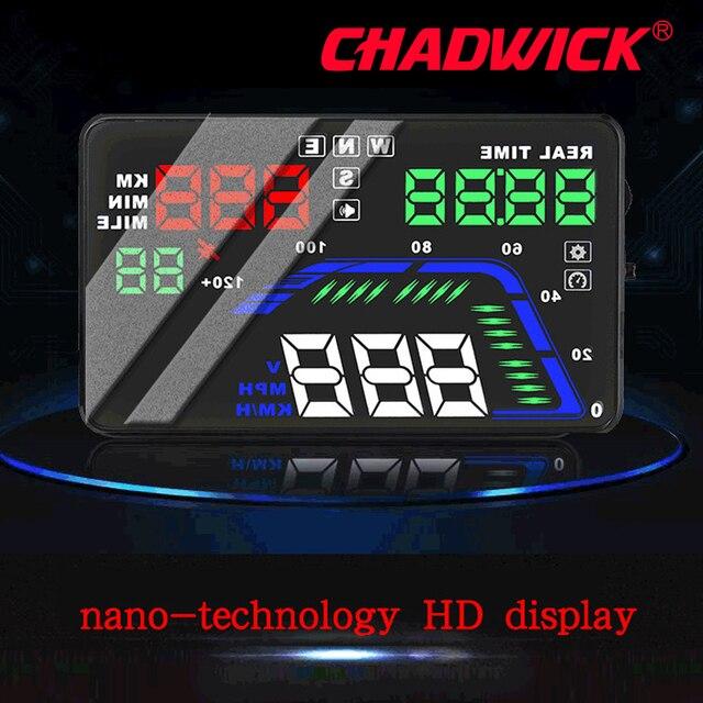 Universel Multi couleur Auto voiture HUD GPS affichage tête haute compteurs de vitesse avertissement de survitesse tableau de bord pare brise projecteur CHADWICK Q7
