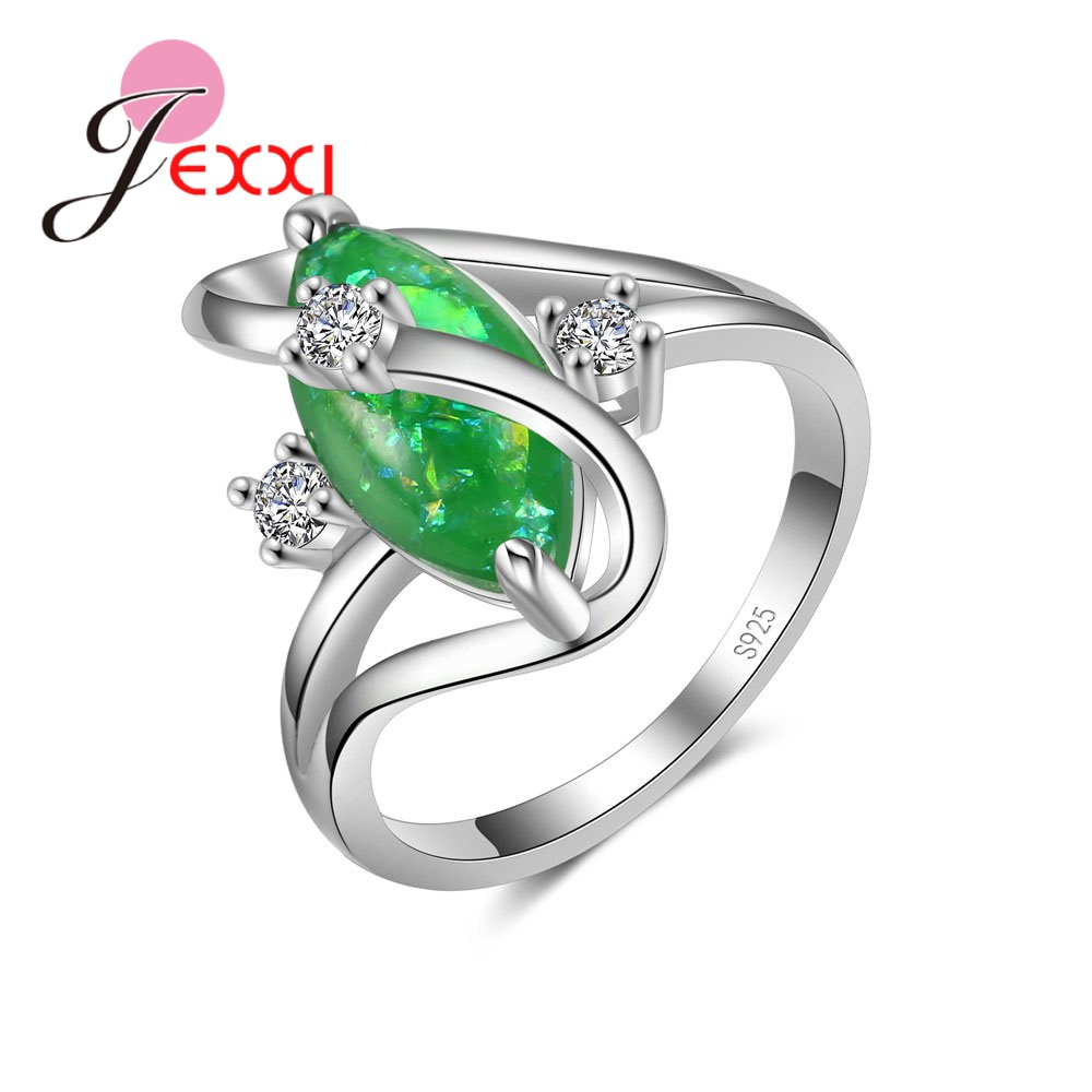 Jemmin Fashion 925 Sterling Silver Ring Wavy Green Crystal Zircon Jewelry Pliers Small Crystal Christmas Holiday Party And To Have A Long Life.